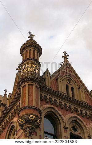 Adelaide, Australia - November 10, 2017: Historic building Beehive Corner on Rundle mall in Adelaide