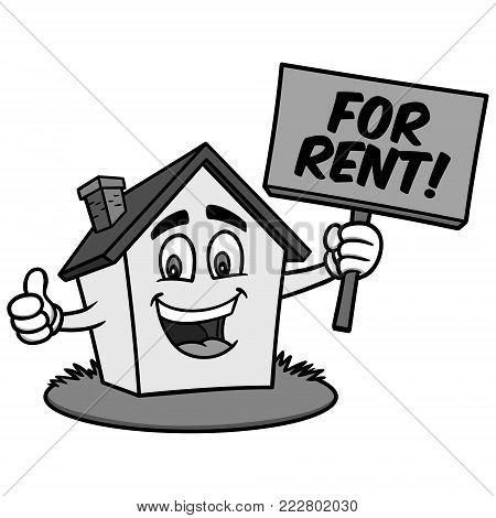 Cartoon House for Rent Illustration - A vector cartoon illustration of a house holding a for rent sign.