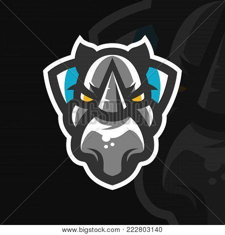 Rhino mascot logo design for sports team. Rhino vector sticker illustration. Icon element for template.