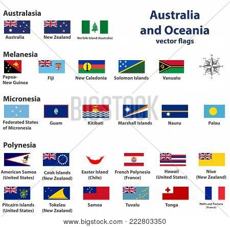 Australia and Oceania (include Australasia, Micronesia, Melanesia and Polynesia) vector countries flags