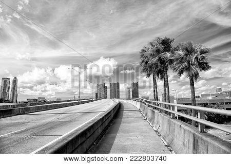 miami highway or public road roadway for transport vehicles and urban skyscrapers on cloudy blue sky background next to the port, miami dade