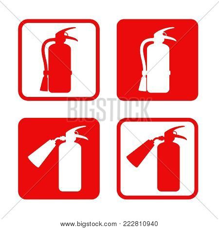 Fire extinguisher stickers safety, equipment, emergency. Vector illustration emergency