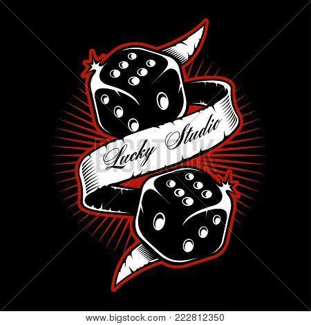 Old school dice tattoo design on dark background