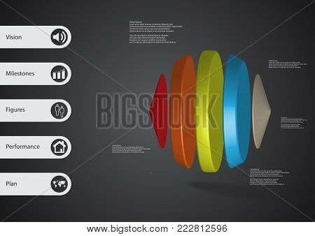 3D illustration infographic template with motif of two cones and three cylinders between horizontally arranged with various colors with simple sign and sample text on side in bars.