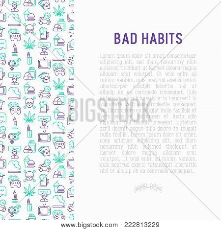 Bad habits concept with thin line icons: abuse, alcoholism, cigarette, marijuana, drugs, fast food, poker, promiscuity, tv, video games. Modern vector illustration for banner, print media.