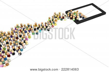 Crowd of small symbolic figures disappearing into phone gadget device, 3d illustration, horizontal, isolated, over white