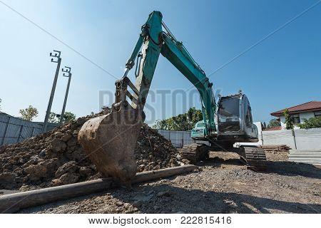 Construction Site With  Precast Concrete Pile