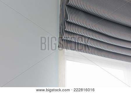 Closed Up Of Modern Window Curtain
