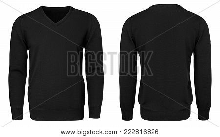 Blank template mens black sweatshirt long sleeve, front and back view, isolated on white background with clipping path. Design pullover mockup for print.