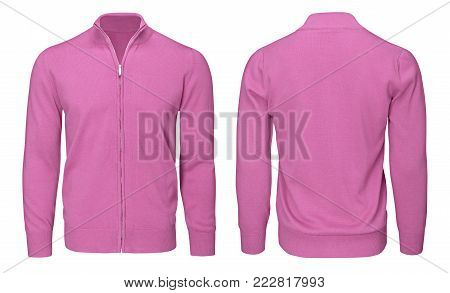 Blank template mens pink sweatshirt long sleeve, front and back view, isolated on white background with clipping path. Design pullover mockup for print.