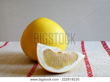 Pamela fruit on linen tablecloth White background