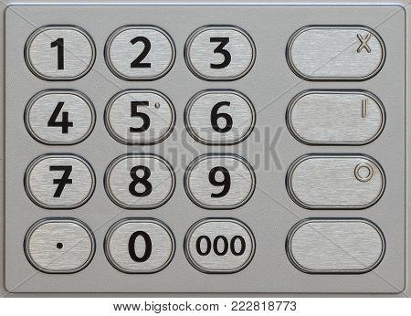 Atm Keypad. Closeup Metal Keyboard Of Automated Teller Machine.