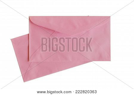 Pink envelope for enclose a letter or document isolated on white background