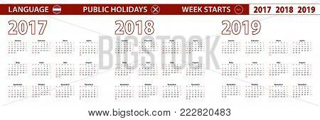 2017, 2018, 2019 year vector calendar in Latvian language, week starts on Sunday.