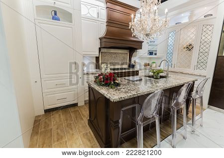 Vaughan, Ontario, Canada, Home improvement center, Dec. 9, 2017, gorgeous amazing, luxury interior view of stylish inviting cozy kitchen concept