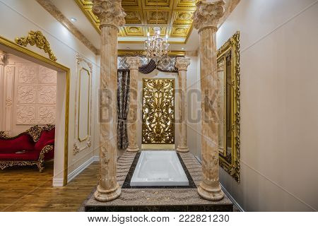 Vaughan, Ontario, Canada, Home improvement center, Dec. 9, 2017, beautiful amazing, inviting view of luxury interior relaxing concept room with a bath tab in the middle