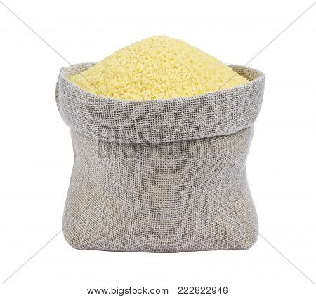 Couscous in bag isolated on white background with clipping path