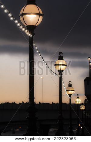 Street Lights At Night, Old Fashioned Style Street Lamps