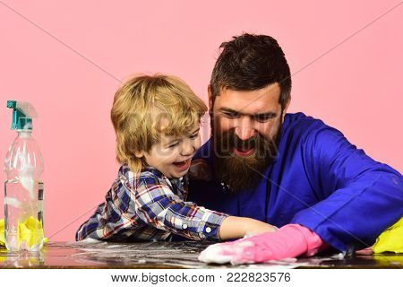 Man With Cute Child On Black Background.