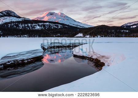 South Sister Reflected in Soda Creek at Sunrise, Deschutes National Forest, Oregon