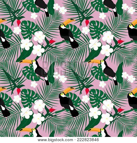 Bright tropical seamless pattern with toucan and tropical leaves. Jungle texture. Perfect for wallpapers, pattern fills, web page backgrounds, surface textures, textile. Vector Illustration.