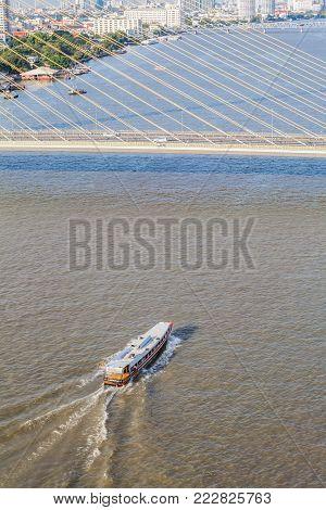 Tugboat Brings Cargo In Chao Phraya River