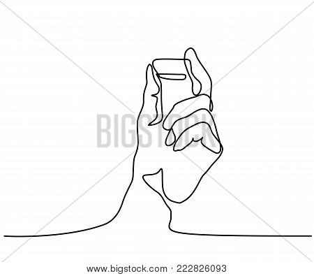 Continuous line drawing. Hand keeping electronic chip. Vector illustration