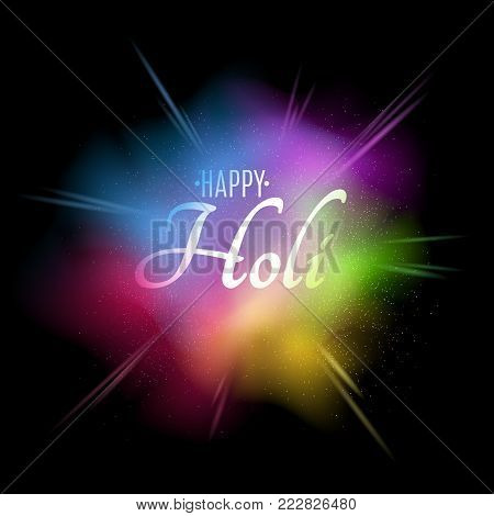 Explosion of colors. Multicolor spray. Banner with white text for Happy Holi. Holiday of colors. Colorful dust. Vector illustration