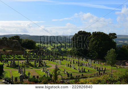 Beautiful countryside with a scottish cemetery in the Highlands