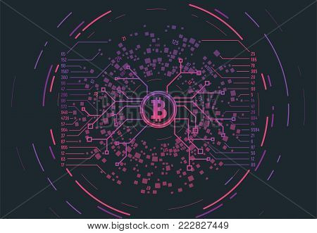 Crypto currency concept gradient vector illustration. Connections and circles. Futuristic information network. Visual geometric structure of data with digits and numbers. Bitcoin sign.