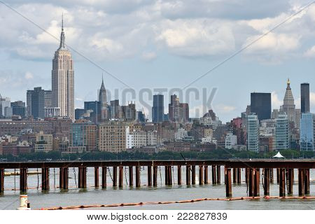 NEW YORK CITY, USA - AUG. 25: Manhattan Skyline and Hudson river on August 25, 2017 in New York City, NY. Manhattan is the most densely populated borough of New York City.