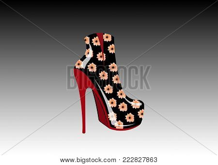 3D woman floral boots on high heels, side view, Logo shoe store, shop, fashion collection boutique label. Company logo design. Leather Shoe with flowers texture print, vector isolated, grey background
