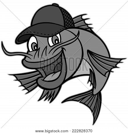 Catfish Mascot Illustration - A vector cartoon illustration of a Catfish restaurant mascot.