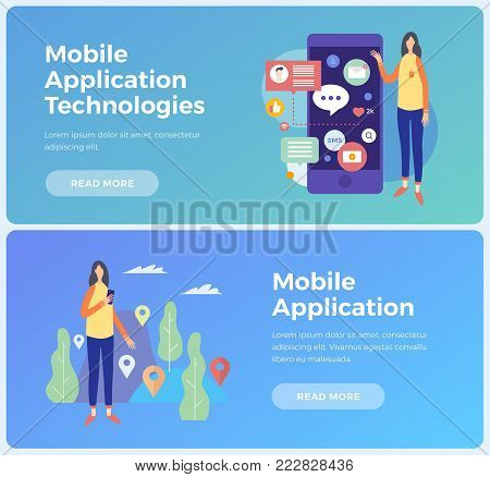 Banners on topic mobile application and Information technologies. Concept social networks and communication on Internet. Young woman with mobile phone and applications icons. Vector illustration.