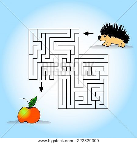 Children s picture - help to find a hedgehog apple. Vector illustration. Hand drawing.