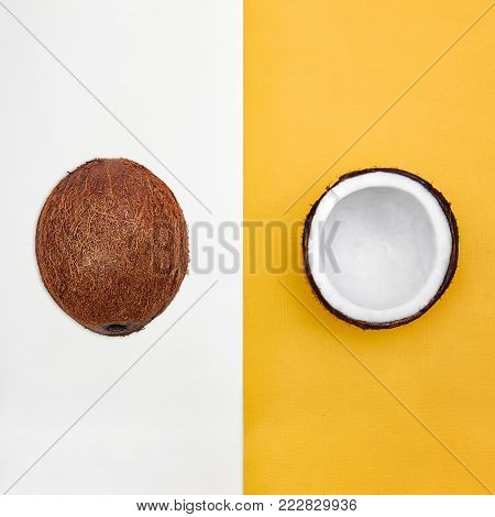 Coconut Flat lay Whole coconut in peel and half of coconut are lying on two-tone background Top view Trendy colorful photo mockup with space for text
