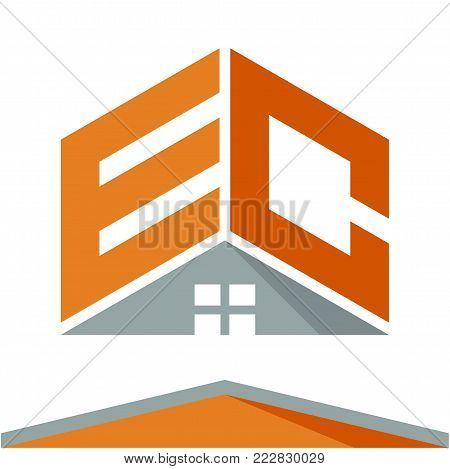 icon logo for construction business with the concept of roofs and combinations of letters E & C