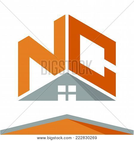 icon logo for construction business with the concept of roofs and combinations of letters N & C