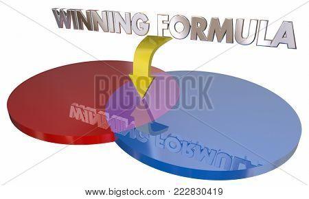 Winning Formula Venn Diagram Best Choice 3d Illustration