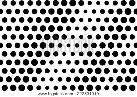 Black white dotted halftone. Half tone vector background. Oversize dot pattern. Dotted gradient. Abstract monochrome texture. Black ink dot on transparent backdrop. Pop art dotwork. Retro polka dot