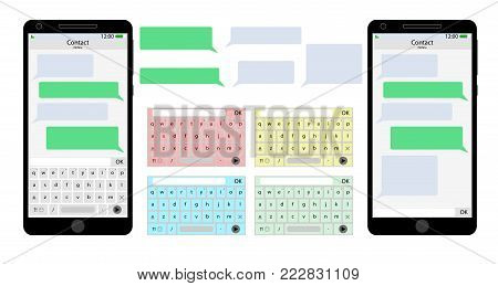 Messenger mobile phone user interface. Screen app and speech bubble with keyboard. Vector illustration
