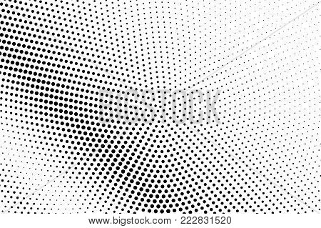 Black white diagonal dotted gradient. Half tone vector background. Striped dotted halftone. Abstract monochrome texture. Black ink dot on transparent backdrop. Pop art dotwork. Retro design template