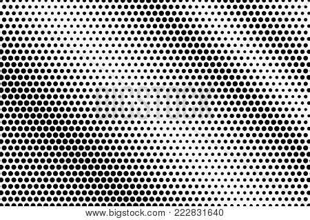Black white subtle diagonal dotted gradient. Half tone vector background. Striped dotted halftone. Abstract monochrome texture. Black ink dot on transparent backdrop. Pop art dotwork. Retro design