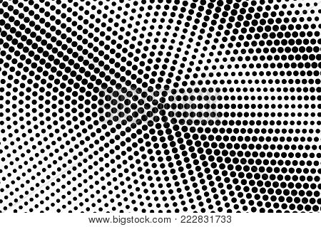 Black white greyscale dotted gradient. Half tone vector background. Smooth dotted halftone. Abstract monochrome texture. Black ink dot on transparent backdrop. Pop art dotwork. Retro design