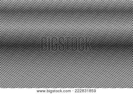 Black white subtle dotted gradient. Half tone vector background. Dark horizontal dotted halftone. Abstract monochrome texture. Black ink dot on transparent backdrop. Pop art dotwork. Retro design