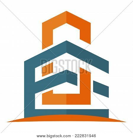 icon logo for the construction business, with combination of the initials E & C