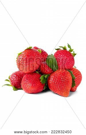 Group of strawberries isolated on white background.