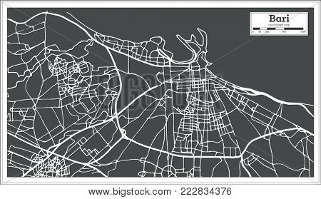 Bari Italy City Map in Retro Style. Outline Map.
