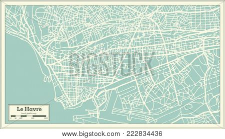 Le Havre France City Map in Retro Style. Outline Map.
