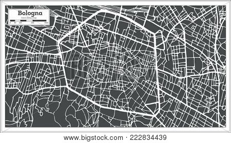 Bologna Italy City Map in Retro Style. Outline Map.